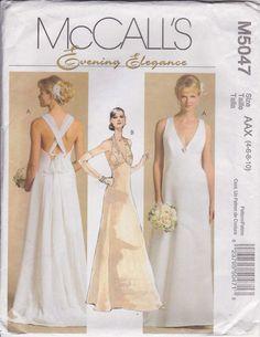 Evening Dress Pattern  Formal Dress Pattern  Bridal Pattern Size 4 - 10 Uncut McCalls M5047