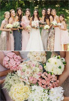 different flower bridesmaid bouquets @weddingchicks