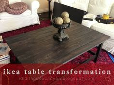 add a weathered wood top to an ikea hemnes coffee table