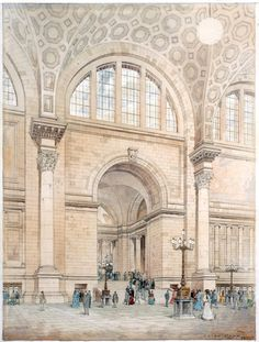 Painting of the proposed Penn Station NY by John Crowe 1906