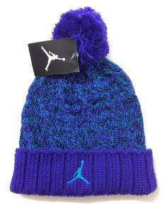 Ladies New 35 AIR JORDAN JUMPMAN POM BEANIE Purple Teal Winter Knit Ski Hat  Cuff  Nike  Beanie  Winter 48cecc329248