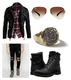 """Clyde Weston"" by abigail-jane-gouldie on Polyvore featuring Dark Future, Timberland, Topman, Ray-Ban, men's fashion and menswear"