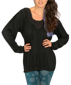 Love this Black Crochet Scoop Neck Top by Jayli on #zulily! #zulilyfinds