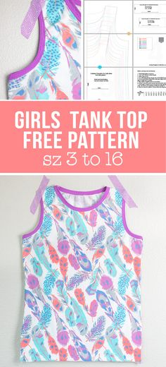 Girls Knit Tank Top Pattern and Tutorial (size 3 to Mädchen stricken Tank Top Muster und T Sewing Patterns Girls, Kids Patterns, Clothing Patterns, Pattern Sewing, Sewing Projects For Kids, Sewing For Kids, Free Sewing, Tommy Hilfiger Pullover, Girls Knitted Dress