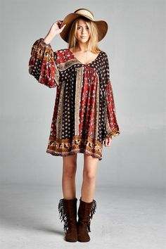 Baby Doll Boho Print Dress - Brown/Red