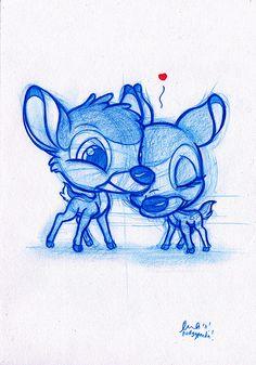 Blue Doodle Bambi and Faline! Cute Disney Drawings, Disney Sketches, Love Drawings, Art Sketches, Art Drawings, Drawing Cartoon Characters, Character Drawing, Cartoon Drawings, Cartoon Art
