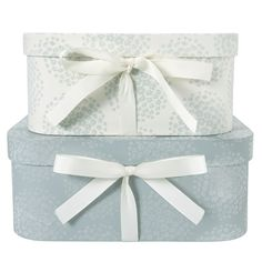 Set of Two Coco Flocked Storage Boxes  Perfectly practical and pretty too, this set of two storage boxes in duck egg blue features flocking details and cream ribbed ribbon ties.