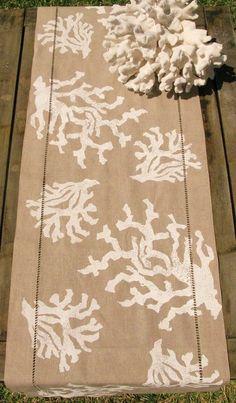 White Coral on Natural Linen Runner: Beach Decor, Coastal Decor, Nautical Decor, Tropical Decor, Luxury Beach Cottage Decor