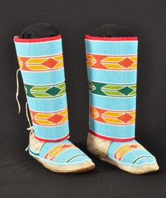 Crow Indian Beaded Moccasins with Leggings 1920s