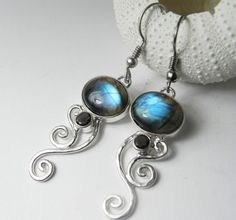 LABRADORITE Earrings  Gemstone Labradorite by FantaSeaJewelry
