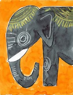 Ganesha Craft Elephant art project - watercolors and crayons