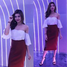 off shoulder + red skirt Maine Mendoza Outfit, Red Skirts, Film Festival, High Waisted Skirt, Strapless Dress, Celebs, Actresses, Pretty, Outfits
