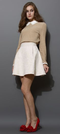 Pearly Peter Pan Collar Top in Tan. I don't like the red shoes with this outfit, but otherwise, yes!