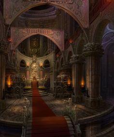 Throne Room w moat & bridge castle urban 神殿 Fantasy City, Fantasy Castle, 3d Fantasy, Fantasy Places, Fantasy Setting, Fantasy Landscape, Fantasy World, Dark Fantasy, Fantasy Rooms