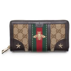 45815dce7a9 Gucci Bee Web Wallet Signature Star Box Leather Authentic New     More info  could