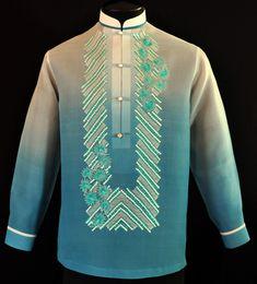 Monochromatic Blue Green Barong Tagalog - Barongs R us Choir Dresses, Barong Tagalog, Filipiniana Dress, Filipino Fashion, Philippines Fashion, Grooms Party, Fashion Brand, Mens Fashion, Line Shopping