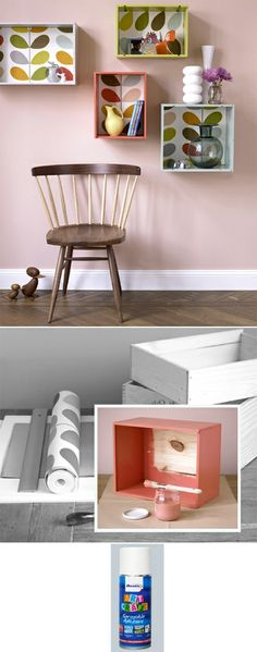 TAL - more ideas for your room projects. This is a lot like the boxes you have been making.   How to make simple storage box shelves from recyclec crates step by step DIY tutorial instructions How to make simple storage box shelves fr...