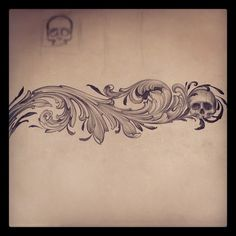 "I like the ornamental sketch. The skull being worked in with the flow is interesting and unexpected. I wouldn't want a skull to be prominent but it could be neat to have it or another non-botanical element ""tucked"" into the rest of the design."