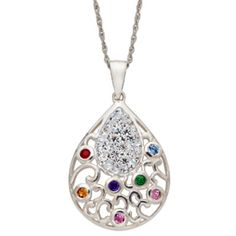Teardrop Shaped Family Birthstone Necklace - add up to 7 birthstones.