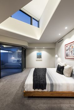 Master Suite with a dramatic angular ceiling. Greg Davies, Master Suite, Luxury Homes, Architects, Ceiling, Bed, Projects, Furniture, Design