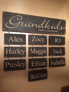 Personalized Carved Wooden Sign  Grandkids Make by HayleesCloset Name Boards, Wooden Signs, Hand Painted, Carving, Home Decor, Wooden Plaques, Joinery, Homemade Home Decor, Sculpture