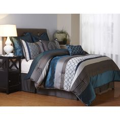 Nanshing Avalon Grey and Blue 8-Piece Polyester Comforter Set - Free Shipping Today - Overstock.com - 19160149 - Mobile