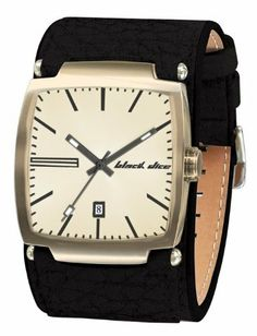 da24cfa2fd3 Black Dice Men s Flow BD-002-11 Black Leather Quartz Watch with Gold Dial