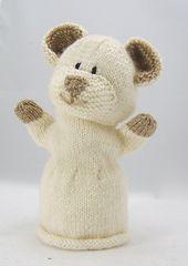 knitted bear hand puppet