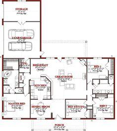 Traditional 4 Beds 2 Baths 2523 Sq/Ft Plan #63-227 Main Floor Plan - Houseplans.com