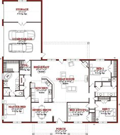 Traditional 4 Beds 2 Baths 2523 Sq/Ft Plan #63-227 Main Floor Plan - Houseplans.com