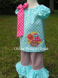 Girls Scarecrow Peasant Top and Double Ruffle Pant Set on Etsy, $52.00