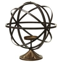 Iron and Brass Globe Candle Holder. Antique effect brass base and candle rest surrounded by adjustable iron rings allowing you to create a globe effect! Dimensions: x Glass Candelabra, Glass Candlesticks, Glass Votive, Wooden Candle Holders, Candle Holders Wedding, Votive Candle Holders, Iron Ring, Wooden Lanterns, Tea Light Holder