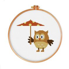 Owl with Umbrella cross stitch pattern modern cross by ThuHaDesign