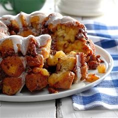 Cinnamon Apple Cider Monkey Bread Recipe -I use the cold-weather staples cinnamon and apple cider to turn plain cinnamon rolls into monkey bread. It's a hit with my boys, who love the sticky sweetness. —Kelly Walsh, Aviston, Illinois