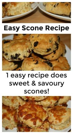 Easy scone recipe - one simple recipe can be adapted to make both sweet and savoury scones! Healthy Scones, Savory Scones, Scones Recipe Uk, Scone Recipes, Savoury Recipes, Dump Meals, Easy Meals, Biscuits, Vegetarian Recipes