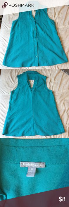Button Up Blouse Charlotte Russe Teal Button-Up blouse; sleeveless; 100% polyester; great condition Charlotte Russe Tops Blouses