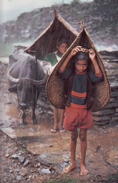 Rain. Natural umbrella. National Geographic. Steve McCurry. Nepal