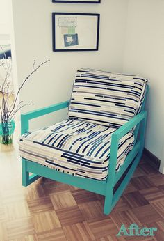 love this chair redesign by by happy serendipity.  It's  Ikea Lillberg rocking chair spray painted and new fabric sewn cushion covers.  totally love it!