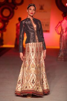 Gold & Red Lehenga with Jacket Top