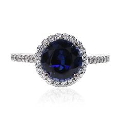 Lab-created sapphire and diamond round borderset engagement ring (1.5CT) - $203.00