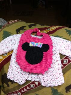 Crocheted Baby Bib & Sweater