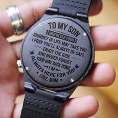To My Husband I Love You And The Hours We Are Away Love Wife Engraved Wooden Wood Watch - ★ Description: ★ Engraved wooden watch for men and women, anniversary gift for boyfriend and m -