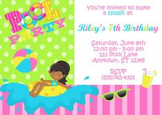 pretty little girl hairstyles : Pool Party Invitation - Girls (2 styles to choose from) on Etsy, $8.50 ...
