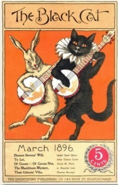 The Black Cat magazine cover featuring black cat and white rabbit strumming music - March 1896