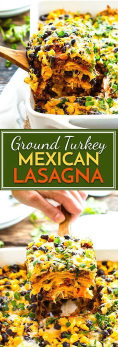 Ground Turkey Mexican Lasagna | A gluten free ground turkey Mexican lasagna made with corn tortillas and full of spices, bell peppers, onions, black beans, and cheese. It is a super easy and healthy kid-friendly weeknight dinner recipe!