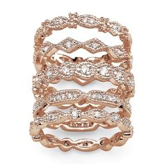PalmBeach 1.55 TCW Cubic Zirconia Five-Piece Eternity Band Set in Rose Gold-Plated Classic CZ | Overstock.com Shopping - The Best Deals on Cubic Zirconia Rings