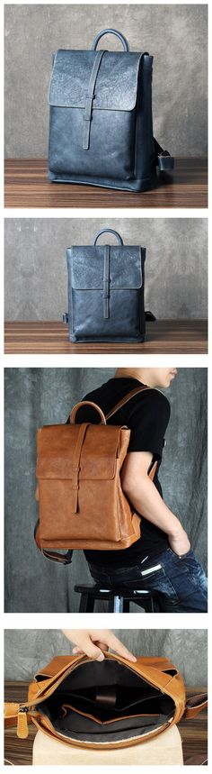 GENUINE LEATHER BACKPACK, 100% FULL GRAIN LEATHER IN BLUE COLOR