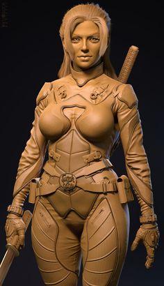 ArtStation - Sugar Babe clay render and Making of, Tanvir M. Zbrush Character, 3d Character, Character Design, Sword Poses, Maya Modeling, Modelos 3d, 3d Girl, Art Portfolio, Sculpting
