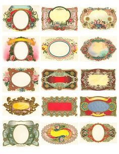 Free Printable Vintage Labels - some of these would make great tattoo frames-Birdy