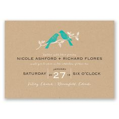Rustic Birds - Malibu - Invitation Mermaid Invitations, Wedding Invitations, Invites, Apple Invitation, Vows, Birds, Rustic, Paper, Sangria